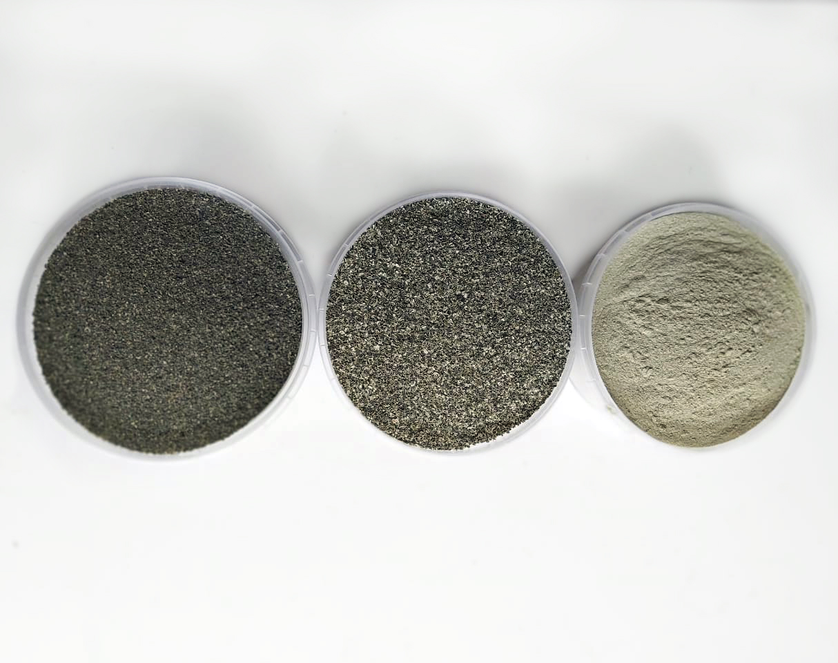 Grits 0.2-0.75 mm and 0.75-2.0 mm, powder less than 0.2 mm